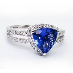 1.75ct Trillion Shape Tanzanite Ring With .27ctw Diamonds in 14k White Gold Price: 2581.99