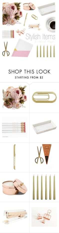 """Home Office - Stylish Items"" by by-jwp ❤ liked on Polyvore featuring interior, interiors, interior design, home, home decor, interior decorating, Jayson Home, Williams-Sonoma, Kate Spade and Manor Lane"