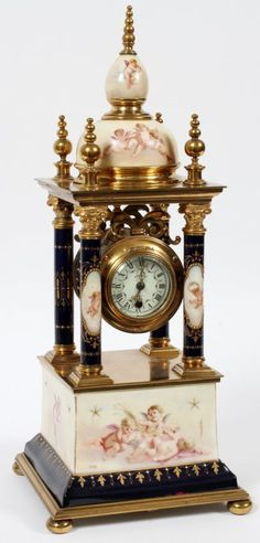 ROYAL VIENNA PORCELAIN CATHEDRAL STYLE MANTEL CLOCK