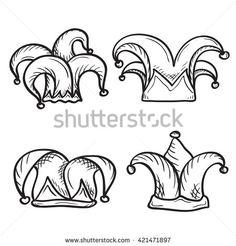 Artistic Hand Drawn Set Of Joker (Jester) Hats, Ink Drawing Imitation Stock Vector Illustration 421471897 : Shutterstock Crown Drawing, Card Drawing, Drawing Ideas, Joker Drawings, Cartoon Drawings, Joker Card Tattoo, Joker Hat, Jester Tattoo, Playing Card Tattoos