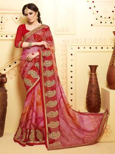 Bandhej Reception Saree  fashioned on chiffon with zari work. Item code: SSVH6667 http://www.bharatplaza.com/new-arrivals/sarees.html