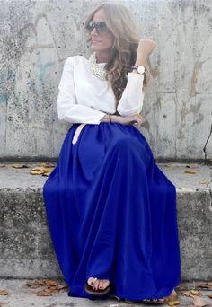 That blue though! Royal Blue Chiffon Maxi Skirt.  Fall Winter Skirt