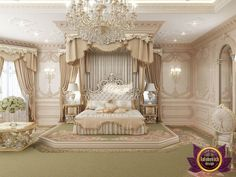 Delightful Master Bedroom Design in Dubai. Our expertise will give your Master Bedroom a creative look with the bespoke design. Chic Master Bedroom, Royal Bedroom, Master Bedroom Design, Modern Bedroom, Rich Girl Bedroom, Trendy Bedroom, Princess Bedrooms, Disney Bedrooms, Mansion Bedroom