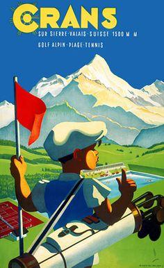 1940s Swiss golfing/ alpine resort poster http://www.vintagevenus.com.au/vintage/reprints/info/TV683.htm