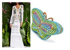 """""""Monte Carlo Lady, Green with Envy Butterfly, Crystal Clutch Bag"""" by acanthaluxury on Polyvore"""
