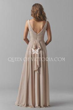 open back sleeveless a line chiffon bridesmaid dress