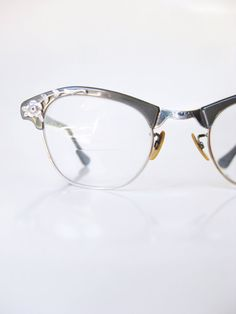 7d137d9f37967 Art Craft Cat Eye Glasses 1960s Eyeglasses Dusty Grey Blue 60s Floral  Flowers Silver Womens Cateye Eyeglass Frames Rockabilly USA Pin Up