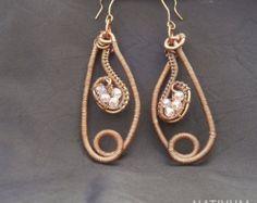 Pendientes cobre turquesa joyas de alambre hecha a mano por Natiyum