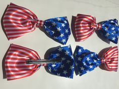 Large Red, White, & Blue Hair Bows by InspiradaPorJULIA on Etsy