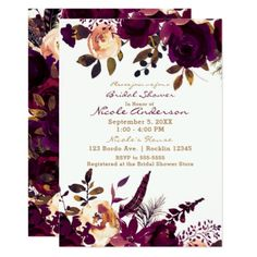 Purple Burgundy Boho Floral Fall Bridal Shower Card - invitations personalize custom special event invitation idea style party card cards