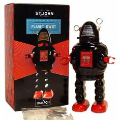 Robby the Robot Baby Windup Tin Toy Limited Edition Black St. John Toys - Just Arrived