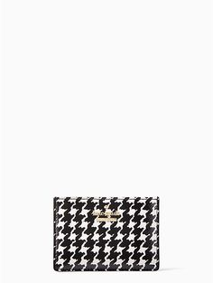 a classic houndstooth print adorns this practical cardholder, which keeps just the essentials together with two slots and a lined center compartment. Kate Spade Cameron Street, Houndstooth, Card Holder, Classic, Instagram, Card Case, Lady, Christmas, Products