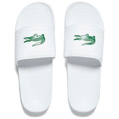 a98cd280752875 Lacoste Men s Frasier Slide Sandals - White Green (2.240 RUB) ❤ liked on