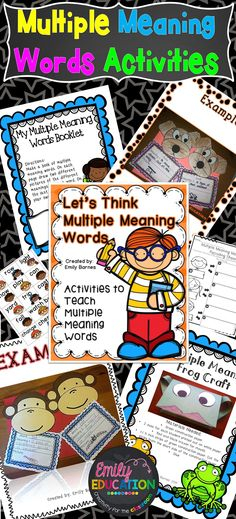 Multiple Meaning Words Activities: Centers, Crafts, Student Booklet, Foldable. Activities to help you teach Multiple Meaning Words. Created by Emily Education: Creativity for the Classroom