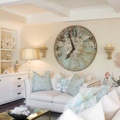 White and turquoise coastal living room