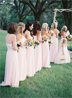 pink bridesmaids dresses #bridesmaids #palepink #weddingchicks http://www.weddingchicks.com/2014/03/20/elegant-wedding-at-the-legare-house/