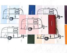 PAINT CHIP MATCHBOOK notepads Set of 5- Airstream Camper in brights on Etsy, $2.00. Use camper line drawing for shrink film?