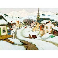 The Village Laurentides by Clarence Gagnon Wall Art offers a glimpse into life in a small Canadian town, with quaint homes and buildings lining a snow-filled street. This charming winter scene is beautifully reproduced on canvas and comes ready to hang. Canadian Painters, Canadian Artists, Clarence Gagnon, Group Of Seven Artists, Of Montreal, Canvas Wall Decor, Painting Edges, Painting Art, Objet D'art