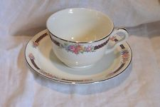 HALL SUPERIOR QUALITY BLUE BOUQUET TEA CUP & SAUCER PLATINIM 6 TO SELL