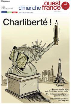 #JeSuisCharlie - Numéro spécial de #OuestFrance avec 50 dessins de 30 dessinateurs du monde entier #LeMondeEstCharlie