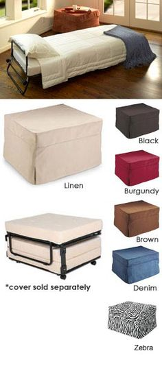 Turn any room into a guest room - with a flip of this sleeper ottoman lid it quickly converts into a ottoman bed. Perfect for any place you need an fold out ottoman bed! Fold Out Ottoman Bed, Small Apartments, Small Spaces, Sleeper Ottoman, Sleeper Chair, Folding Beds, Fold Out Beds, Guest Bed, Guest Room
