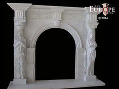 BEAUTIFUL HAND CARVED VICTORIAN STYLE SOLID MARBLE FIREPLACE MANTEL - LST17 #Unbranded