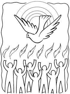 Tongues Of Fire Coloring Pages | Holy Spirit / Pentecost Coloring Pages