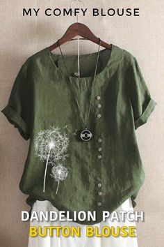 Half Sleeves, Types Of Sleeves, Short Sleeve Blouse, Short Sleeves, Flower Shorts, Shirt Bluse, Summer Blouses, Casual T Shirts, Neue Trends