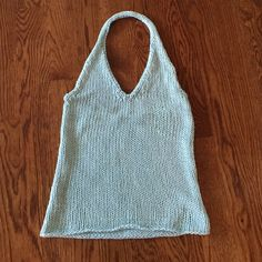 Light Carolina blue sweater halter top Great detail and beading around neck and back Tops