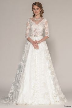 eugenia couture fall 2016 bridal 3 quarter sleeves v neckline lace embroider bodice a line full skirt wedding dress style katherine -- Beautiful 2016 Wedding Dress Trends Part 2 2016 Wedding Dresses, Wedding Dress Trends, Country Wedding Dresses, Wedding Bridesmaid Dresses, Boho Wedding Dress, Wedding Dress Styles, Bridal Dresses, Wedding Gowns, Lace Wedding