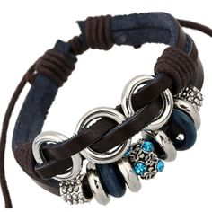 * Penny Deals * - TEMEGO Jewelry Mens Womens Genuine Leather Wrap Bracelet, Vintage Punk Rock Beads Charm Cuff Bracelet, Adjustable Fits 7-12 inch, Brown Silver * Want additional info? Click on the image.