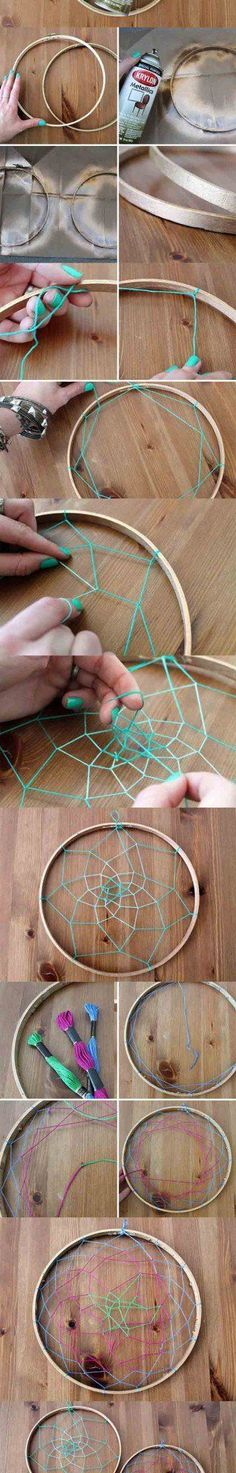 Dreamcatcher Jewelry Holder | DIY dreammcatcher | Ideas & Inspiration, see more at http://diyready.com/diy-dreamcatcher-ideas-instructions-inspiration