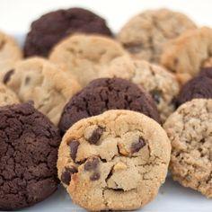 Triple chocolate cookies, oatmeal raisin cookies, and peanut butter cookies