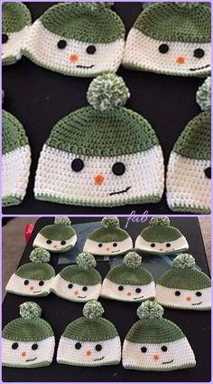 Crochet Happy Snowman Hats Free Pattern