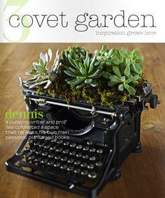 Typewriter planter in Covet Garden.  Via sfgirlbybay