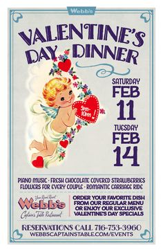 (2.11 / 2.14.2017) —Fine dining, romantic carriage rides, piano music, fresh chocolate covered strawberries and flowers for every couple. Enjoy a celebration of your Valentine at Webb's Captain's Table on Chautauqua Lake!