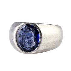 Cartier Art Deco Burma Sapphire Platinum Signet Ring   From a unique collection of vintage signet rings at https://www.1stdibs.com/jewelry/rings/signet-rings/