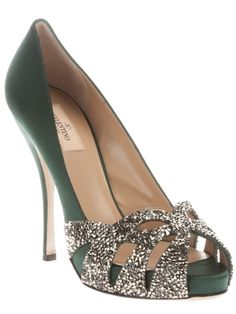 Valentino | Green silk pump from Valentino featuring a peep toe with a class bead embellished cut-out detail, a leather sole and silk covered stiletto heel. || *WHAT. IS. AIR?!*
