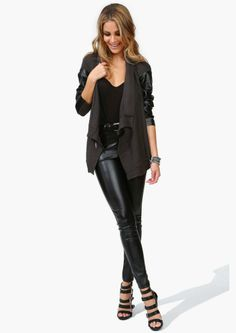 Can't stop loving the leather/leather like pant trend.  A sassier alternative to traditional denim!