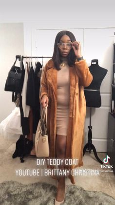 4 ways to style a teddy fur coat. I made this Teddy Coat out of a $25 blanket from Target. Click to watch the whole video! Winter Fashion Casual, Winter Outfits Women, Fashion Sewing, Diy Fashion, Teddy Coat, Winter Coat, Brittany, Diy Clothes, Celebrity Style
