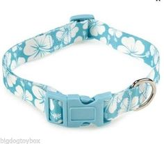 "Aqua & White Hibiscus Adjustable Polyester Dog Collar Fits Neck size 18"" - 26"""