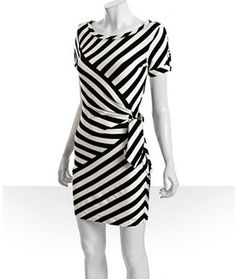ShopStyle: Diane Von Furstenberg black and ivory simple stripe jersey 'Leron' dress  one of my favs
