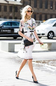 Everything about this look, from the embroidered floral dress to the embellished cat-eye sunglasses, is an absolute dream. On Poppy Delevingne: Erdem dress; Looks Street Style, Street Style Summer, Mode Chic, Mode Style, Style Work, Style Me, Poppy Delevingne, Vogue, Passion For Fashion