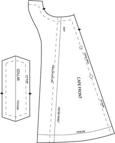 cape front and collar pattern