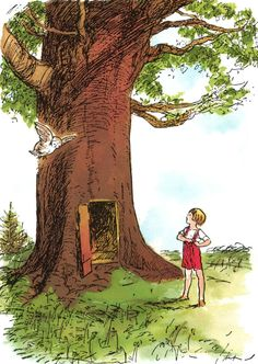 Christopher Robin outside his house. Ernest H Shepard
