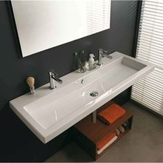 Bathroom Trough Sink Double Faucet : Double Faucet Trough Style Sink Cangas Double Wall Hung Sink with 2 ...