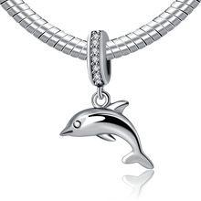 Authentic 925 mincovní stříbro korálků Dolphin přívěsek korálky s Crystal Fit Women Pandora náramek a náramek šperky YW20413 (Čína (pevninská část))