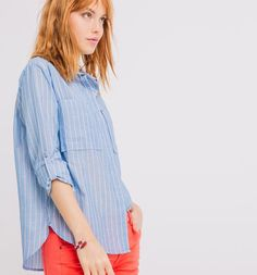 Chemise rayée Femme rayé bleu ciel - Promod