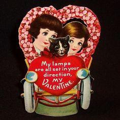 Vintage Stand Up 3 D Car & Cat Valentine