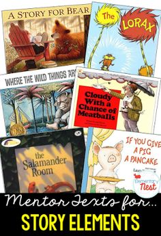 Primary mentor text suggested book list for Story Elements- RL1.3- teaching characters, setting, and events with literature-  Blog post on…